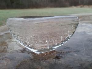 Ice cone in birdbath