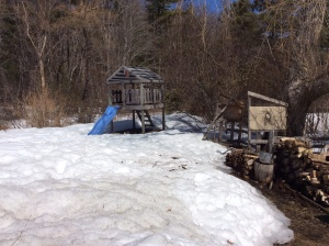 April 15 - the wood shed roof broke under the weight of snow